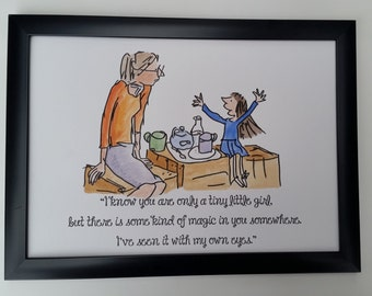 A4 Matilda Quote and Watercolour Painting Roald Dahl Quentin Blake Hand Painted Miss Honey