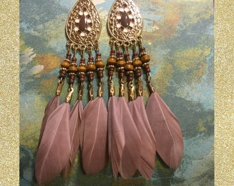 Light Brown Feathered Earrings