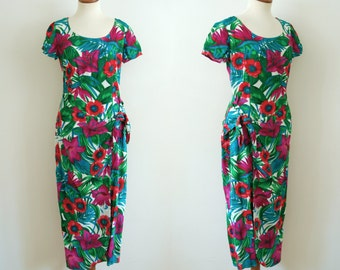 hawaiian sarong dress - 80s vintage green pink red tropical pinup tiki print wiggle fit bodycon beach dress wrap tie front midi maxi medum