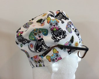 SKELETON DOGS! Scrub Hat / Surgical Cap