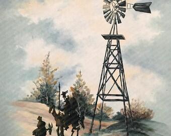 Cervantes Don Quixote and Sancho Panza Parody - Repurposed Thrift - Print Poster Canvas - Surrealist Artwork Fine Art Pop Culture Modified