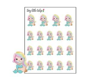 Planner Stickers Mermaid Blowdry Hair