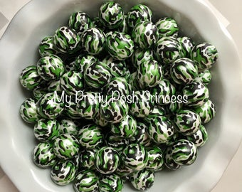 20mm Camouflage Pearls Camo Hunting  Chunky Bubble Gum Beads Set of 10