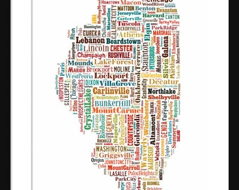 Illinois Typography Map Color Poster Print