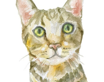 Bengal Cat Watercolor Painting 4 x 6 - Giclee Print Reproduction - Cat Lover Fine Art Print