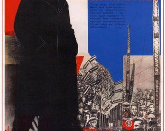 "Soviet propaganda print ""Let's Start the Second Five Year Plan Under Lenin's Banner"""