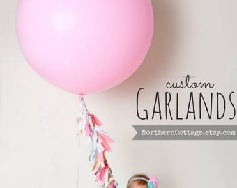 FABRIC Garland Ribbon Banner // Balloon Tassel // Cottage, Shabby Chic, Modern, Rustic, Wedding, Nursery, Shower, Party, Decor, GiFT