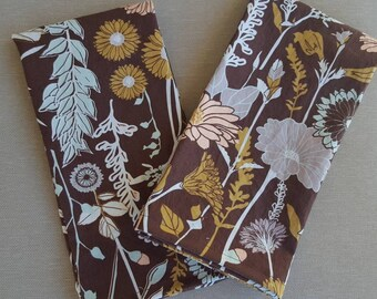 dinner cloth napkins- brown with pastel florals