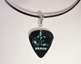 Elvis Guitar Pick Necklace Leather Cord Black and White Handmade Elvis Playing Guitar