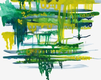 Green Dripping Abstract Painting