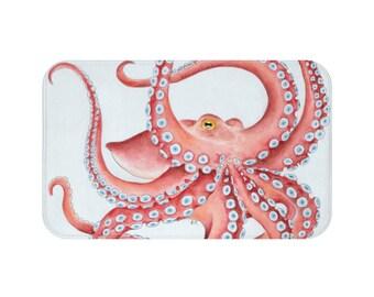 Red Octopus Tentacles Dance Bath Mat