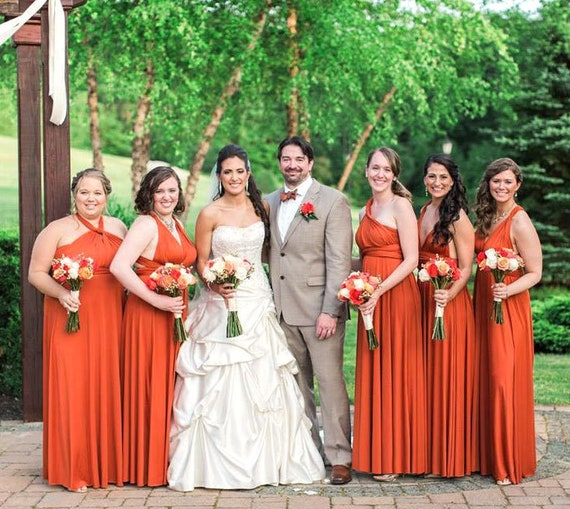 TDY Burnt Orange Maxi Bridesmaid Dress Prom Dress Infinity