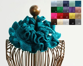 Custom Ruffle Scarf,  Chose Color,  Hand Crocheted Ruffle Neck Warmer,  Vegan Scarf, Winter Scarf