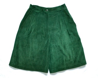 Vintage Green Suede Shorts Size XS Small// Vintage Green Leather Shorts High Waisted Size Small