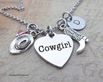 Cowgirl Heart Charm Personalized Hand Stamped Initial Birthstone Antique Silver Cowgirl boot and Hat Charm Necklace