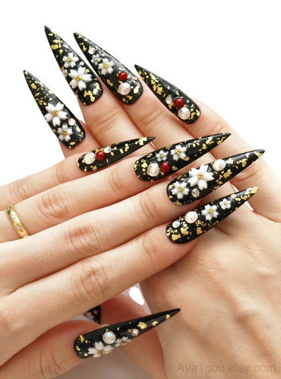Stiletto nail pointy nail Japanese 3D nails cherry blossom