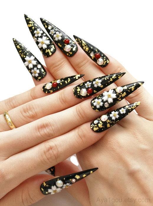Stiletto Nail Pointy Nail Japanese 3D Nails Cherry Blossom
