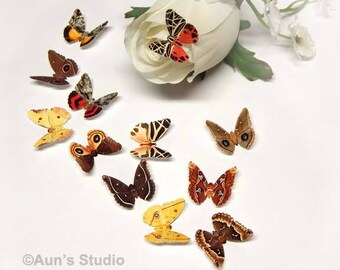 Small Paper Moths, Realistic, 1 inch Printed Paper Moths Mix of 12