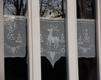 reindeer in the forest of trees set of three curtains