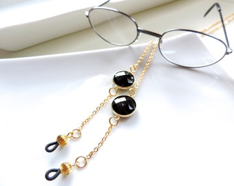 Gold  Eyeglass Chain Holders- Chic Classy Fauceted Black Glass Bead with Gold Trim - eyeglasses Chain Holder - Great for Sunglasses too