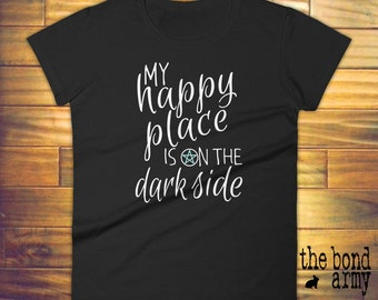 Wicca Witchcraft Pagan T-shirt My Happy Place Is On The Dark Side Shirt Pentacle Witches Shirt Wiccan T-shirts Occult Witch Craft Magic Tee