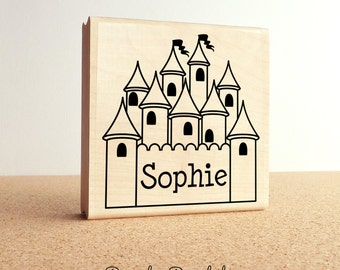 Large Personalized Princess Custom Rubber Stamp, Custom Castle Name Stamp