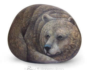 Fine Detailed Grizzly Bear Hand Painted on A Sea Stone | Rock Painting Art by Roberto Rizzo