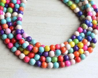 Alana - Multi Color Magnesite Bridesmaid Statement Necklace