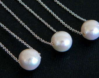 Floating Freshwater Single Pearl Sterling Silver Necklace