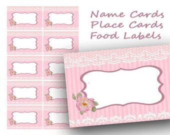 Pink Printable Place Cards, Floral Wedding Place Card, Name Cards, Food Labels Cards, Table Cards, Table Number Cards, Tea Party tags