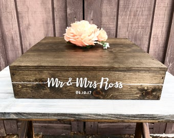 "15""x 15"" Rustic Cake Stand - Custom Wedding Cake Stand - Rustic Wedding Decor - Wooden Box"