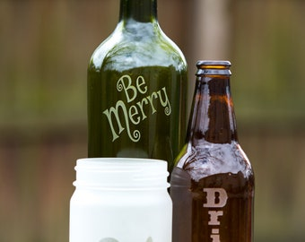 Etched glass group - Eat, Drink, Be Merry