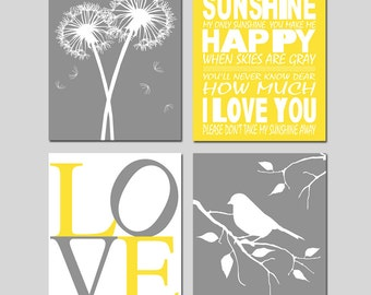 Yellow Gray Nursery Art Quad - You Are My Sunshine, LOVE, Birds in a Tree, Tree Dot, Dandelions, Bird on a Branch - Set of Four 11x14 Prints