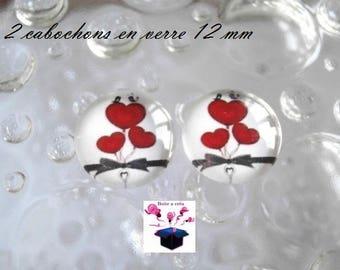 2 cabochons en verre  12 mm pour boucle theme ballon coeur