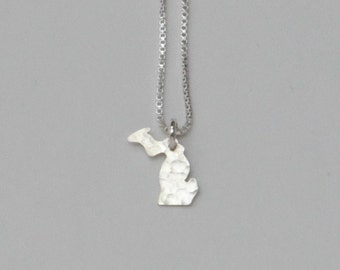 Tiny Michigan Necklace. Small Michigan State Silver Spartans Home Charm. Mitten State Upper Peninsula Jewelry. Valentine's Day Gift.