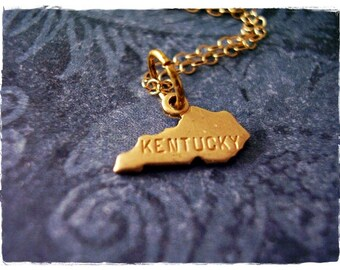 Tiny Gold Kentucky State Necklace - Raw Brass Kentucky Charm on a Delicate 14kt Gold Filled Cable Chain or Charm Only