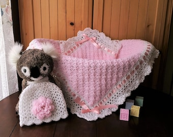 Crochet Baby Blanket, Baby Girl Blanket and Hat Set, Baby Girl Shower Gift
