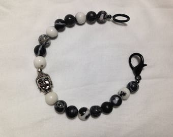 Zebra Stone and Silver Plated Buddha Head Mens Gemstone Bracelet with Black Lobster Clasp