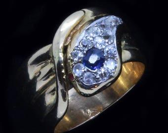Antique Victorian Napoleon III Snake Ring Sapphire Diamonds 18k Gold (#6411)
