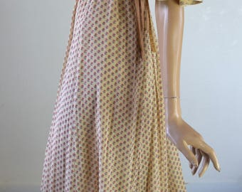 FINE FEATHERS Ditsy Floral Liberty Print Beige Flutter Sleeve Maxi Dress UK10