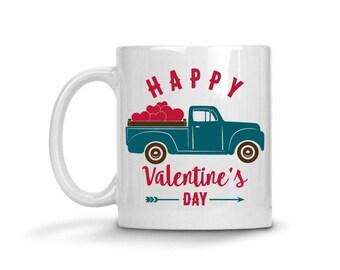 Vintage Truck Valentine's Day Coffee Mug, Vintage Truck, Valentine's Day Coffee Mug, Love Heart Coffee Mug