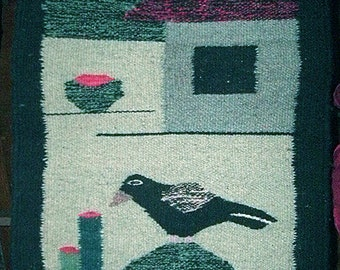 """Hand Crafted Mexican Woven Wool, Bird, House 19"""" x 19"""""""