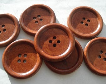 40mm Wooden Sewing Buttons, 4-Hole Round Reddish Brown Buttons, Pack of 6 Wooden Buttons, W4024