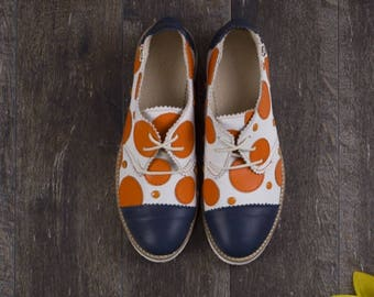 Leather Shoes-Women's Shoes-Classic Shoes-Handmade Shoes-Unique Shoes-Oxford Shoes-Every Day Shoes-Comfortable Shoes-Multicolored Shoes