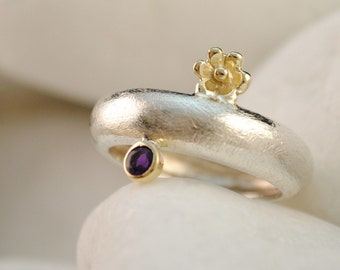 Mycenaean Rosette - Rodakas Flower Amethyst Band Ring, Solid Sterling Silver and Solid 18K Gold