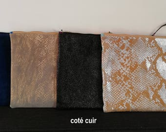 Wax and leather clutch / evening bag / pouch wedding