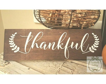 Thankful Sign, Wood Signs, Farmhouse Decor, Farmhouse Sign, Farm House Decor, Farm House Sign, Rustic Signs, Handpainted Sign, Country Style