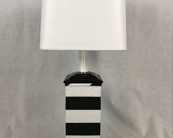 Beverly Black And White Stripe Base Lamp