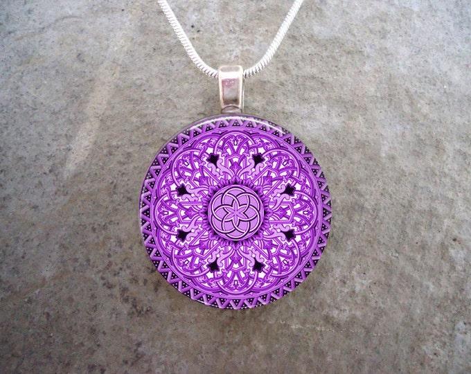 Celtic Jewelry - Glass Pendant Necklace - Celtic 32 Purple