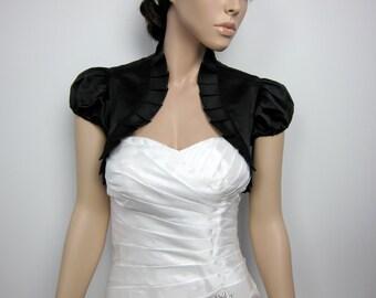 Black short sleeve satin bolero wedding bolero jacket shrug